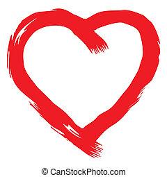 hjärta, vektor, röd, handskrivet