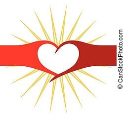 hjärta, vektor, röd, illustration