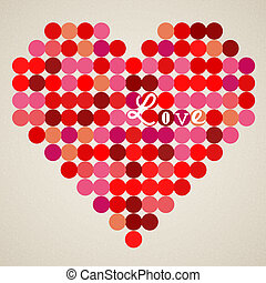 hjärta, vektor, retro