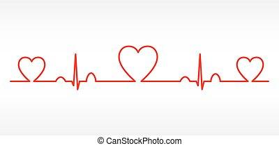 hjärta, vektor, sätta, topplista, kardiogram