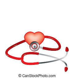 hjärta, vektor, stetoskop röd