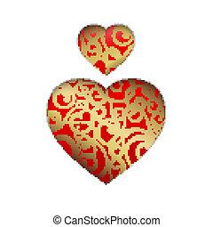 hjärta, vektor, symbol.