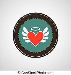 hjärta, vektor, symbol
