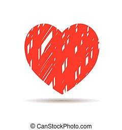 hjärta, vektor, teckning, röd, ikon
