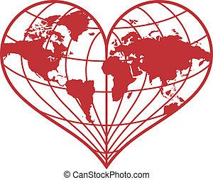 hjärta, vektor, värld glob