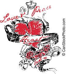 hjärta, vinge, tatuera