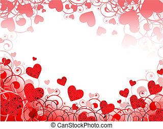 hjärta, virvlar, ram, copyspace, röd