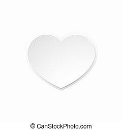 hjärta, vit, papper, valentinkort