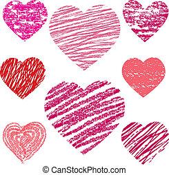 hjärtan, abstrakt, vektor, sätta