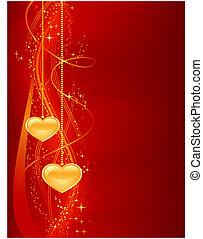 hjärtan, bakgrund, romantisk, guld, röd