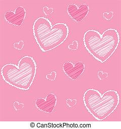 hjärtan, baksida, valentinkort, rosa, ikonen