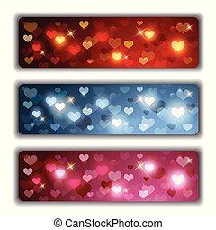 hjärtan, baner, valentinkort, färgrik