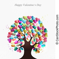hjärtan, begrepp, kärlek, träd