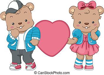 hjärtan, björn, teddy
