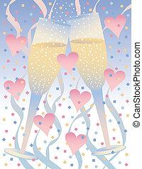 hjärtan, champagne, firande