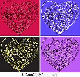 hjärtan, filigran, sätta
