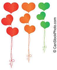 hjärtan, form, sväller, färgrik