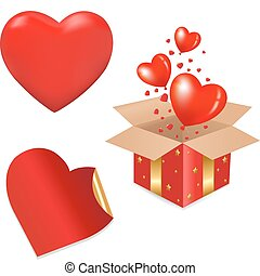 hjärtan, gåvan boxas, röd
