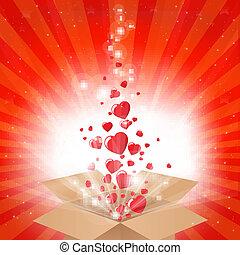 hjärtan, gåvan boxas, stjärnor