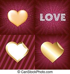 hjärtan, guld