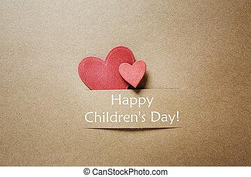 hjärtan, meddelande, childrens, röd, dag