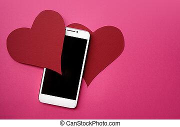 hjärtan, och, smartphone., den, begrepp, till, lik, in, social, knyter kontakt, eller, datering, app., rosa bakgrund