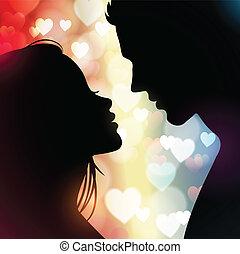 hjärtan, par, silhouettes
