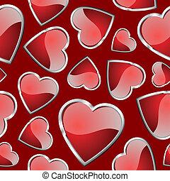hjärtan, pattern., seamless