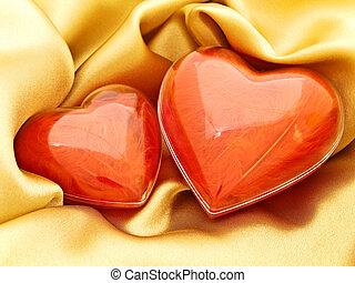 hjärtan, röd, guld