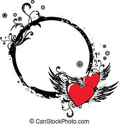 hjärtan, ram, vektor, grunge, två