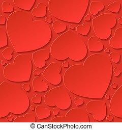 hjärtan, red., röd, seamless