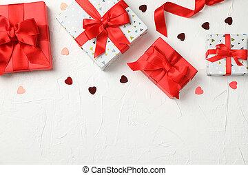 hjärtan, rutor, text, utrymme, bakgrund, gåva, vit