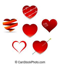 hjärtan, sätta, valentinbrev