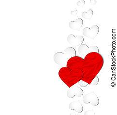 hjärtan, Skrynkligt, papper, dag, Valentinkort