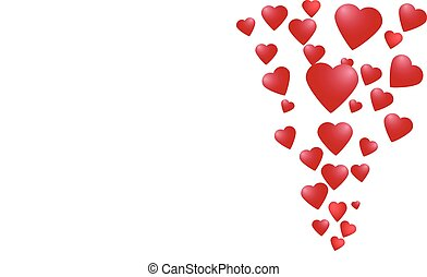 hjärtan, ström, blanka röda