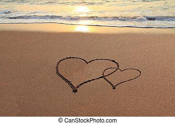 hjärtan, strand, kärlek
