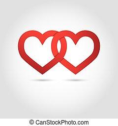 hjärtan, symbol, vektor, anknutit
