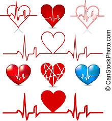 hjärtan, taktslagen, vektor, sätta, graph.