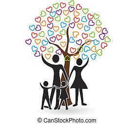 hjärtan, träd, familj, logo