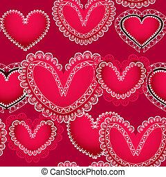 hjärtan, valentinbrev, seamless, bakgrund, röd