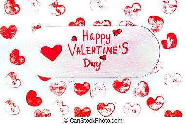 hjärtan, valentinkort dag, bakgrund, röd