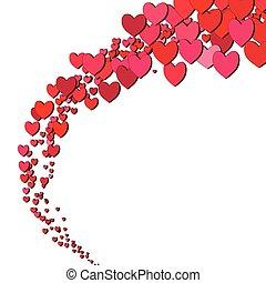 hjärtan, valentinkort, strödd, dag, kort