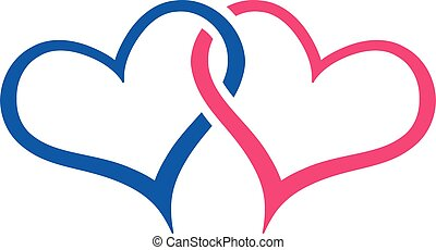 hjärtan, vektor, anknutit, illustration