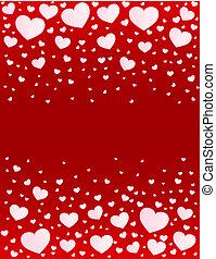 hjärtan, vektor, kort, bakgrund, valentinbrev