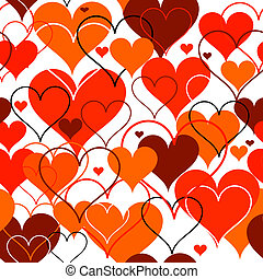 hjärtan, vektor, seamless, bakgrund.