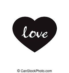hjärtan, vektor, svart, ikon