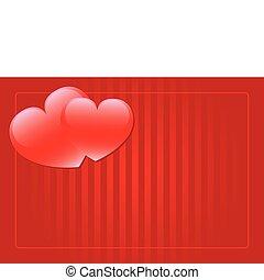 hjärtan, vektor, två, bakgrund, röd