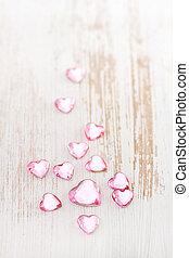 hjärtan, vit fond