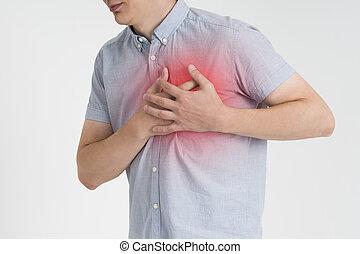 hjärtattack, man, med, bröstkorg smärta, på, grå fond