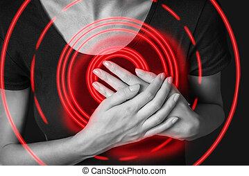 hjärtattack, smärta, av, röd, färg